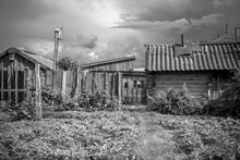 Old Wooden House, Fence And Ou...