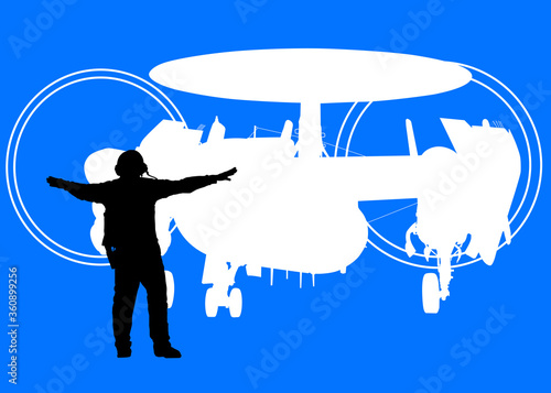 Military Silhouette -- Aircraft carrier plane director and Navy E-2C Hawkeye Canvas Print
