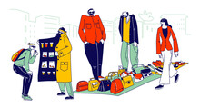 Illegal Sellers Characters Business Concept. Smugglers Selling Illegally On Black Market. Cloak-seller, Dealer In Sunglasses, Hat And Coat Show Goods, Bootleggers. Linear People Vector Illustration