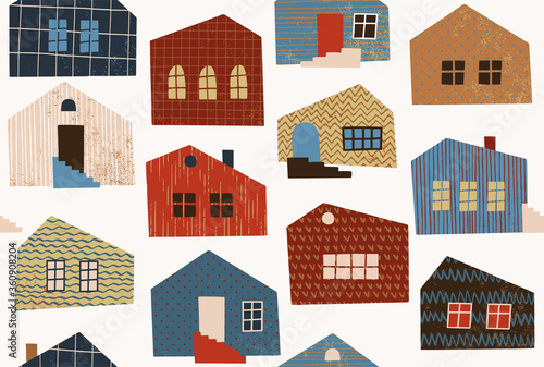 Fototapety, obrazy: Seamless pattern with different houses. Abstract city landscape illustration