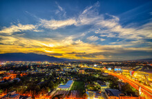 CHIANG MAI, THAILAND - JUNE 28, 2020 : Aerial Night View Of Chiang Mai Cityscape From A High Angle With Doi Suthep And Super Highway At Dusk In Chiang Mai, Thailand
