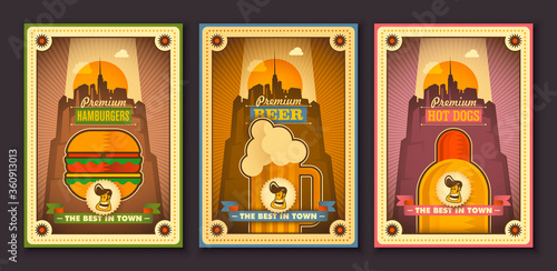 Photo Set of vintage style restaurant posters design