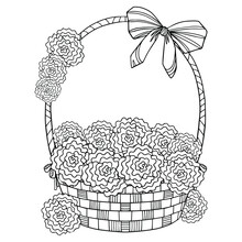 Spring Line Art. Wicker Basket...