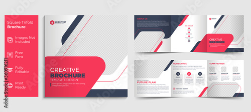Fototapeta Creative business square trifold brochure template design obraz