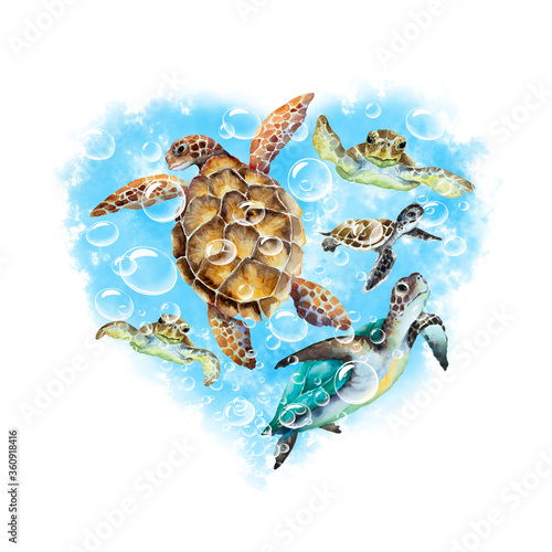 Photo Abstract heart of a blue water with air bubbles and swimming sea turtles on a white background, watercolor drawing