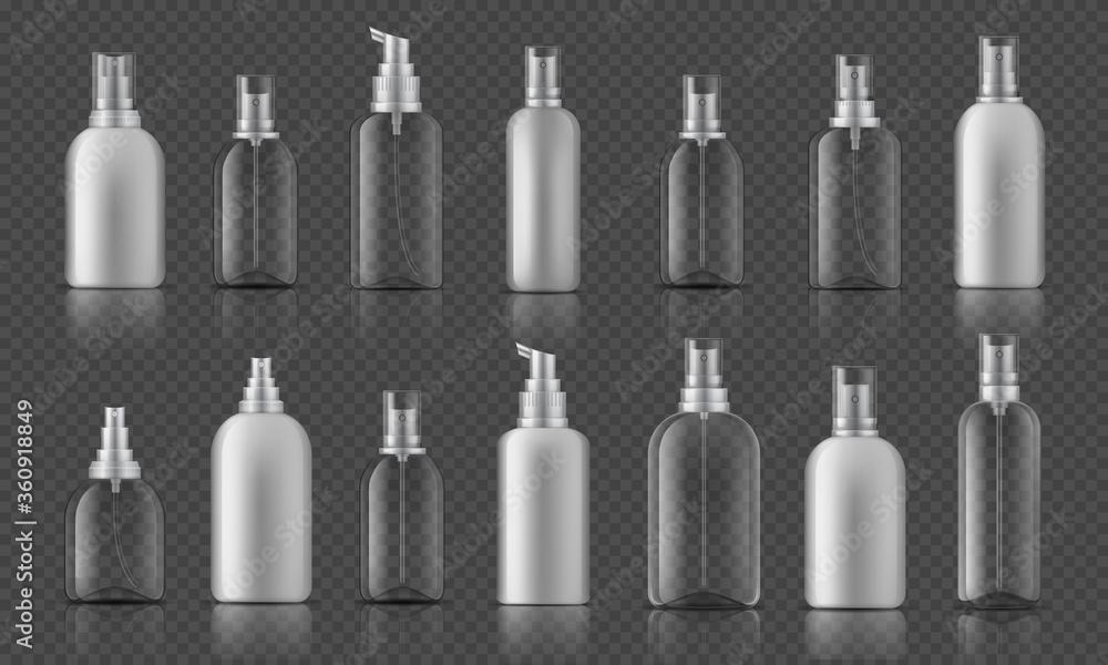 Fototapeta Spray bottle. Sanitizer gel for hands hygiene, corona virus prevention concept, cosmetic bottle with pump. Vector illustration mock up plastic spray container on transparent background