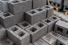 Cinder Blocks Of Gray Concrete...