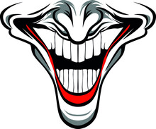 Evil Clown Face With Red Lips And Nose / Creepy Clown Or Horror Clown, Clown Horror Smiley Face. Clown Mouth, Joker Smile For Halloween. Illustration