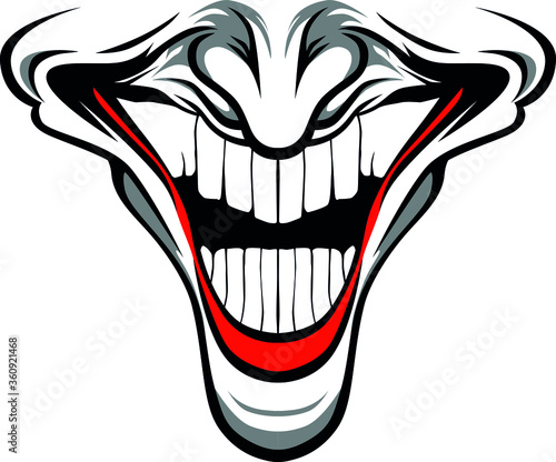 Leinwand Poster Evil Clown face with red lips and nose / Creepy clown or horror clown, clown horror smiley face