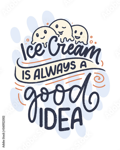Fotografie, Obraz Hand drawn lettering composition about Ice Cream