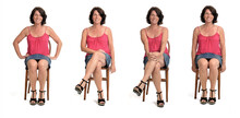 Roup Of Same Woman In Skirt Sitting On White Background,