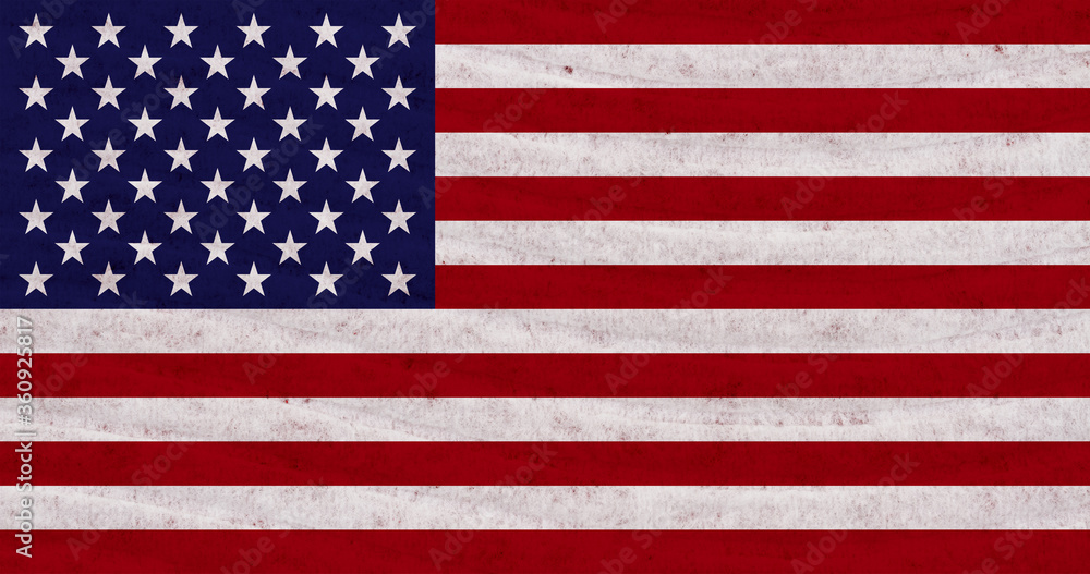 Fototapeta Stars and stripes distressed American flag with textured material background