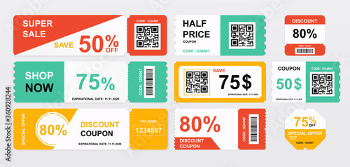 Photo Collection of coupons offering price reductions and savings with differing amoun