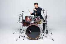 Young Attractive Man Drummer P...
