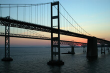 Chesapeake Bay Bridges At Sunset