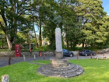 Linton Green, With Old Telephone Kiosk And Old Trees In, Linton, Skipton, UK