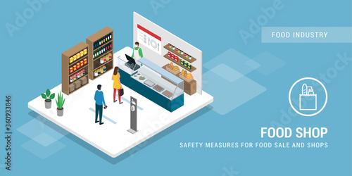 Fototapeta Safety measures at the food shop during coronavirus epidemic obraz