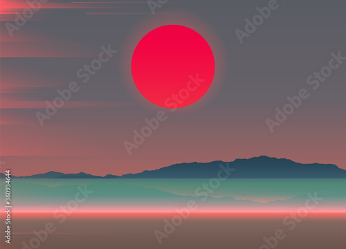 Aesthetic beach scene landscape with big red sunset and light leak overlay, soft Slika na platnu