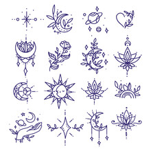 Set Of Tattoo In Minimalism. Thin Line Shapes Collection Of Space And Nature Symbols. Modern Vector