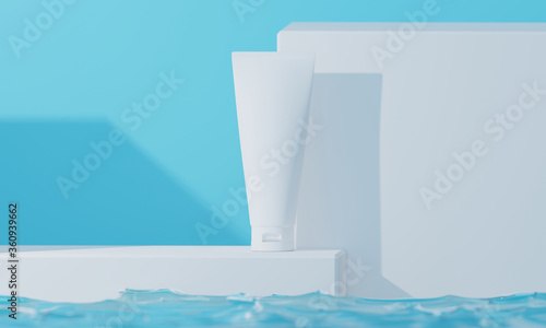 beauty treatment medical skincare cosmetic lotion cream mockup packaging, 3d illustration rendering