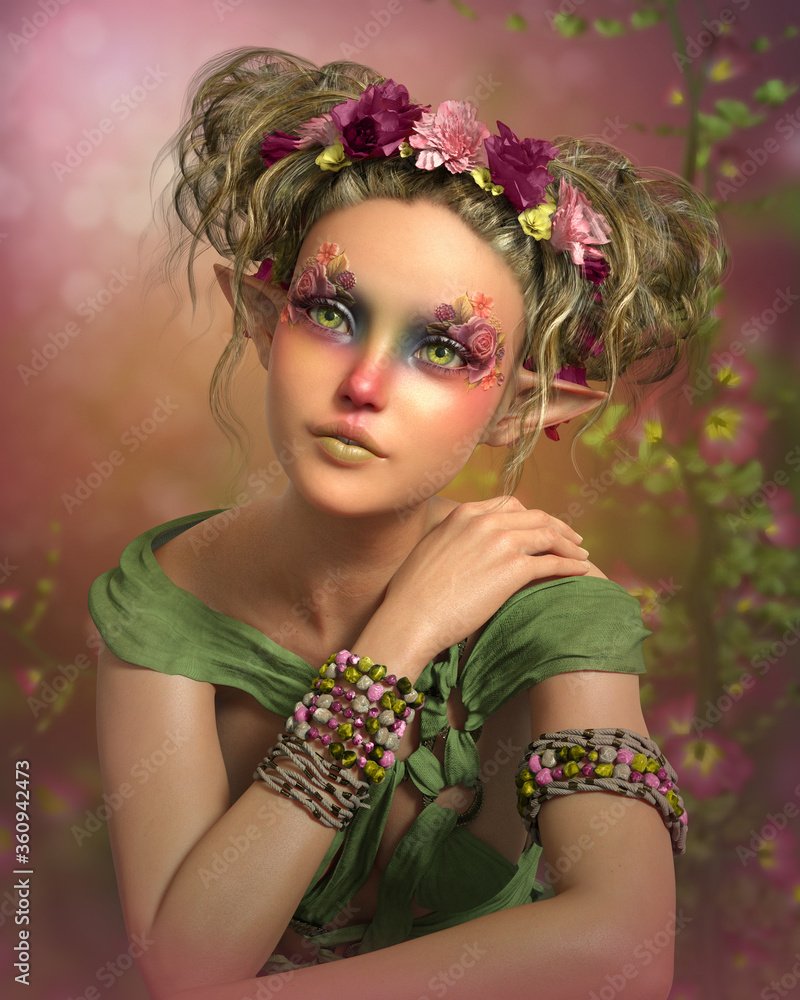 Fototapeta Fairy with green eyes and red nose, 3d CG