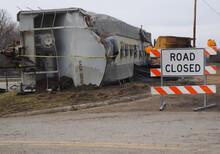 Train Wreck Hopper Car On Its Side