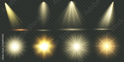 Obraz Light effect. Vector shining golden bright light. Set of flashes, lights and sparks. Abstract golden lights isolated on a transparent background. Bright gold flashes and glares. Vector illustration - fototapety do salonu
