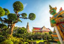 Demon (Giant Or Yak) Guardian At Temple Of Dawn (Wat Arun Ratchawararam Ratchawaramahawihan Or Wat Arun) In Bangkok, Thailand