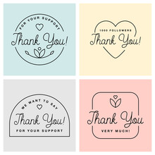 Set Of Badges With Thank You Graphics And Design Elements Vector Labels And Logo For Gratitude, Branding, Advertisement