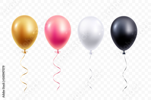 Obraz na plátně Realistic balloons collection isolated on transparent background