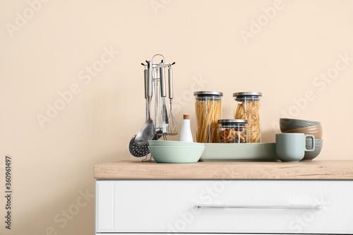 Fototapeta Set of utensils on kitchen counter obraz