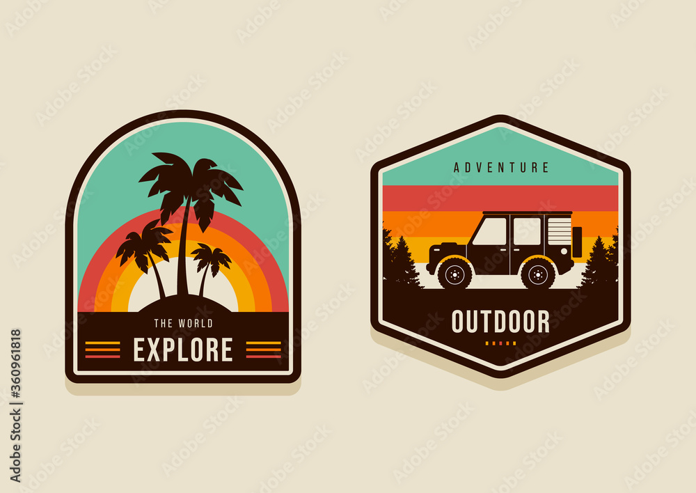 Fototapeta Set of summer travel badges and explore the world concept modern vintage retro style