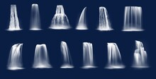 Waterfalls Realistic Vector Of...
