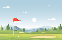 Golf Field Flag Green Grass Tr...