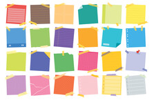 Sticky Post Note Collection. Post It For Work Memo, Reminder For To Do It. Office Paper Sticker Collection.