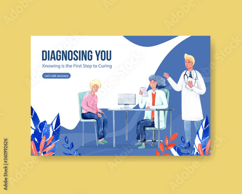Facebook template illnesses concept design with people and doctor characters infographic symptomatic watercolor illustration