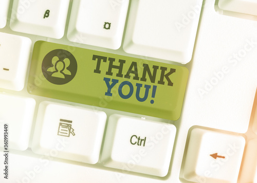 Photo Text sign showing Thank You