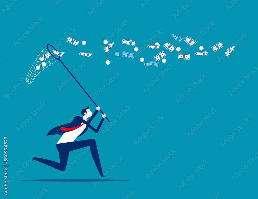 Fototapeta Catch conversation money. Business financial concept. Flat cartoon vector design