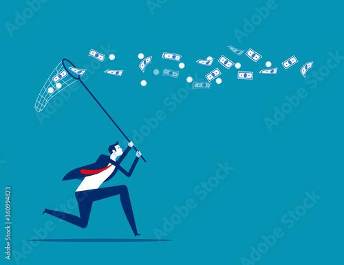 Fototapeta Catch conversation money. Business financial concept. Flat cartoon vector design obraz