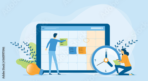Flat vector illustration design Business planning concept and Business people team working with digital online calendar - 360997046