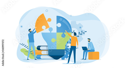 Foto Flat vector illustration design business creative process and business team meet