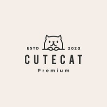 Cute Cat Hipster Vintage Logo Vector Icon Illustration