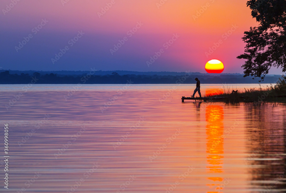 Fototapeta Lake on sunset