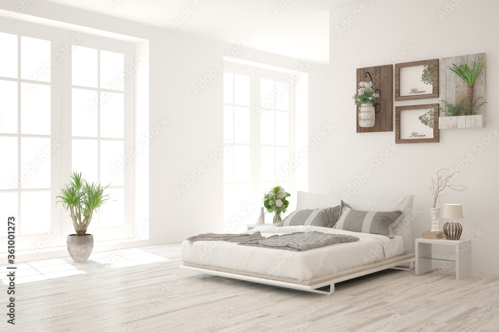 White bedroom interior. Scandinavian design. 3D illustration