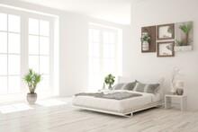 White Bedroom Interior. Scandi...
