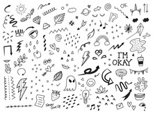 Set Of Abstract Doodle Elements, Hand Drawn Arrow And Other Elements