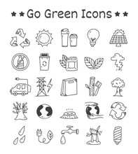 Set Of Go Green Icons In Doodl...