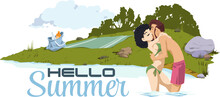 Loving Couple On Beach. Funny ...