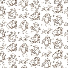 Cupid With Love Letters And Arrows Seamless Pattern