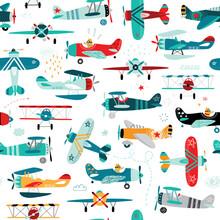 Airplanes Boys Seamless Pattern